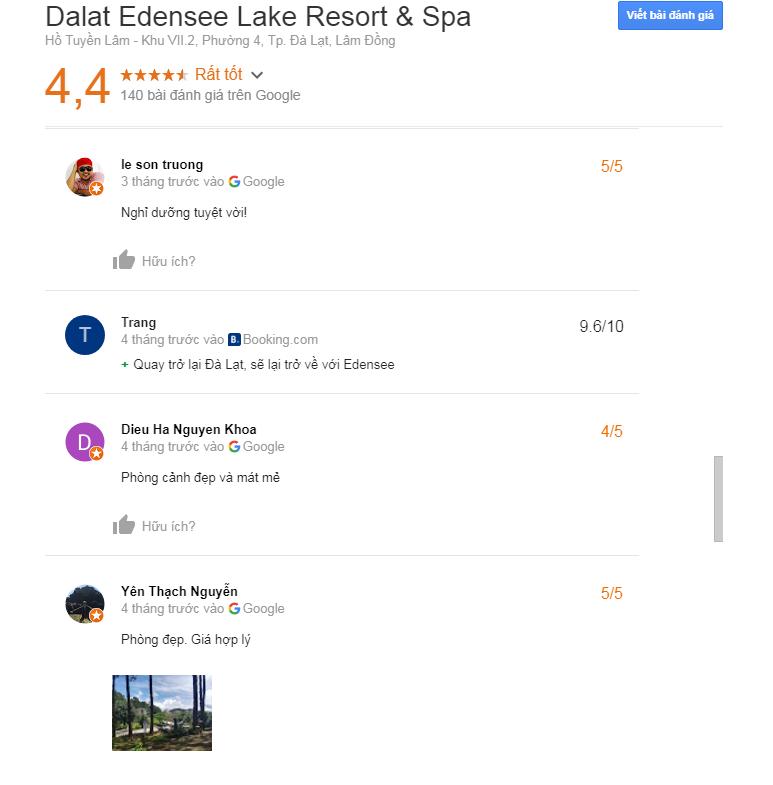 Đánh giá Dalat Edensee Lake Resort & Spa