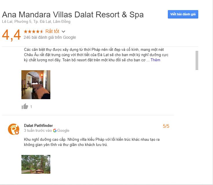 Đành giá khách sạn Ana Mandara Villas Da Lat Resort & Spa