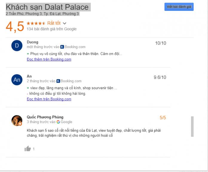 Đánh giá khách sạn DaLat Palace