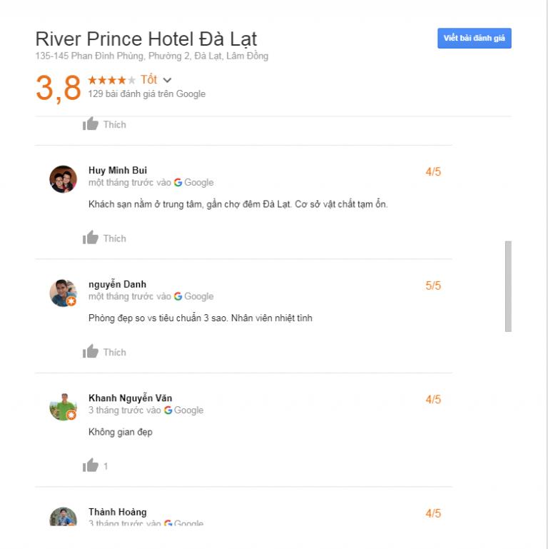Đánh giá khách sạn River Prince Đà Lạt
