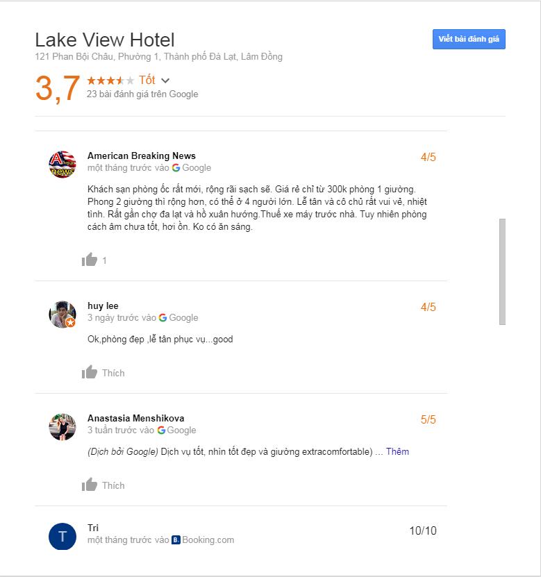 Đánh giá khách sạn Lake View Đà Lạt