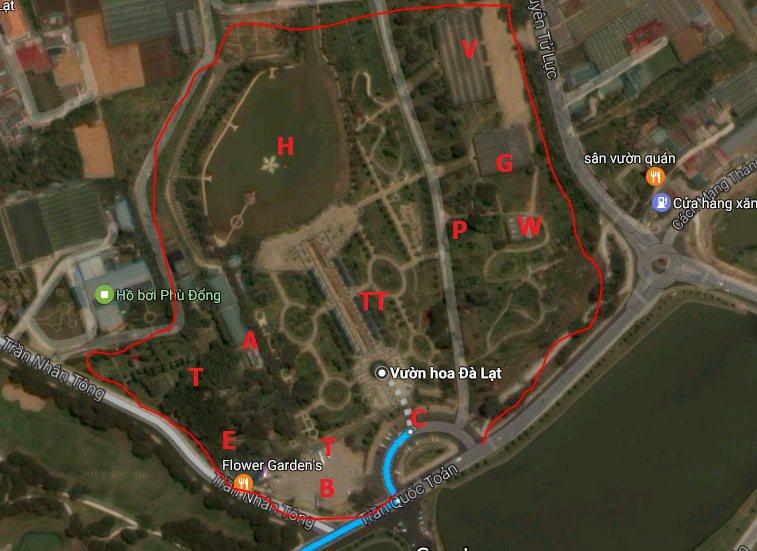 bản đồ tham quan vườn hoa thành phố Đà Lạt