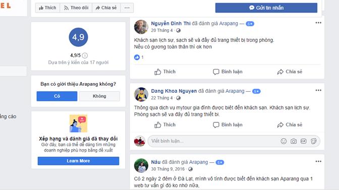 đánh giá khách sạn arapang Đà Lạt