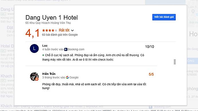 Đánh giá khách sạn Đăng Uyên Đà Lạt