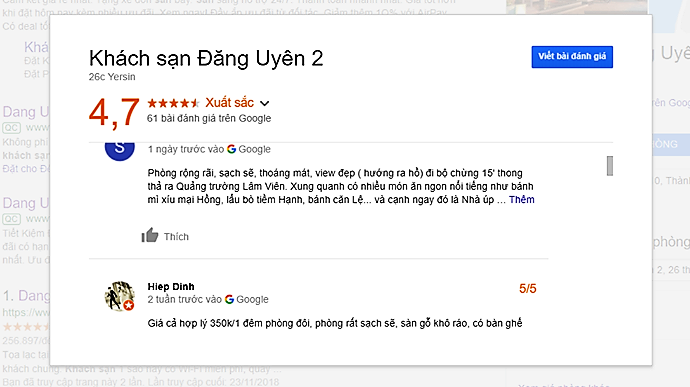 Review khách sạn Đăng Uyên Đà Lạt