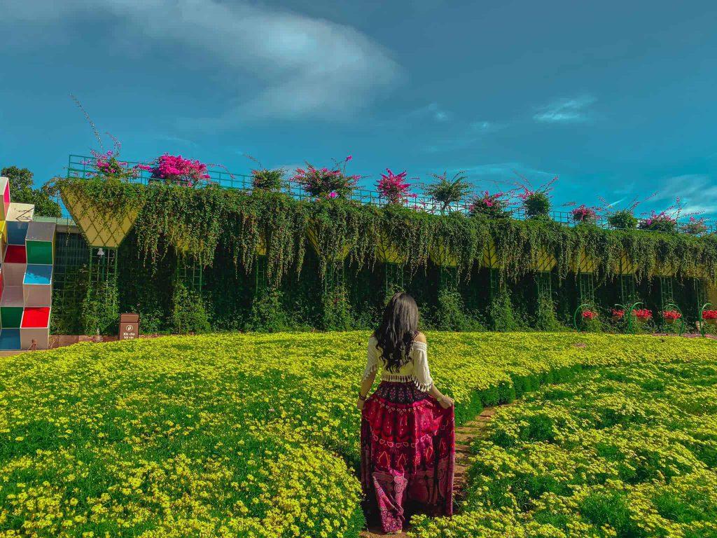 check in khu vườn hoa ở fresh