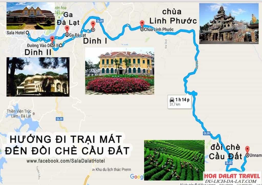 Đường đi chùa Linh Phước