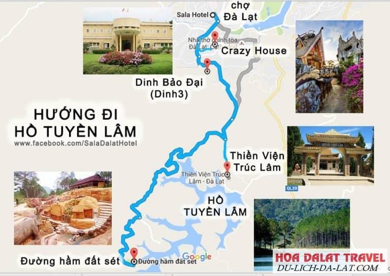 Đường đi hồ Tuyền Lâm Đà Lạt