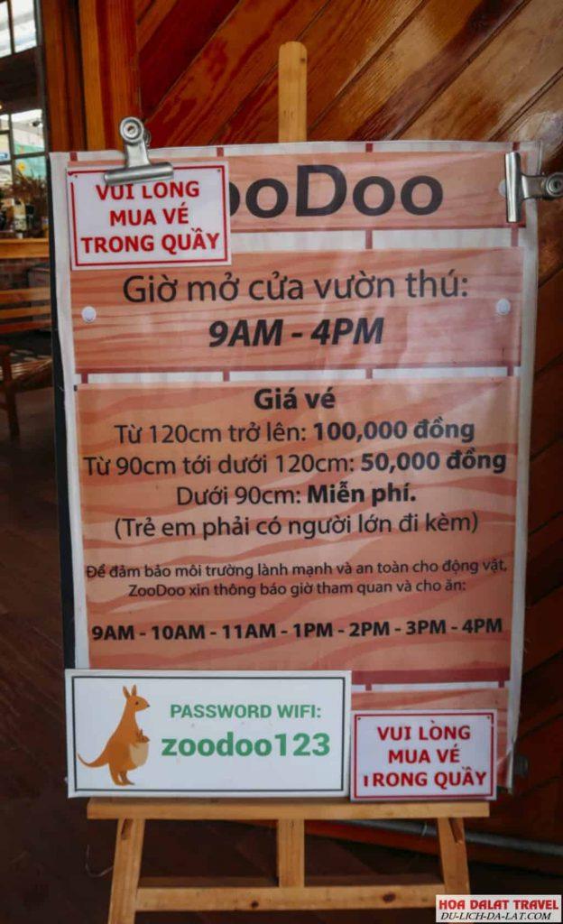 Giá vé sở thú Zoodoo